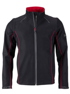 Men's Zip Off Softshell Jacket James & Nicholson - black red