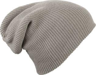 Knitted Long Beanie James & Nicholson - lightgrey melange