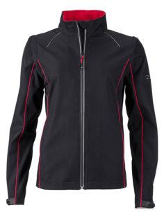 Ladies Zip Off Jacket James & Nicholson - black red