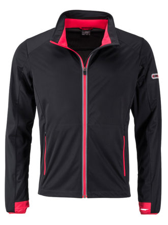 Men's Sports Softshell Jacket James & Nicholson - black lightred