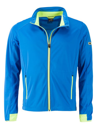 Men's Sports Softshell Jacket James & Nicholson - brightblue brightyellow
