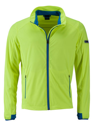 Men's Sports Softshell Jacket James & Nicholson - brightyellow brightblue