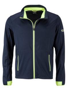 Men's Sports Softshell Jacket James & Nicholson - navy brightyellow