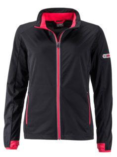 Ladies' Sports Softshell Jacket James & Nicholson - black lightred