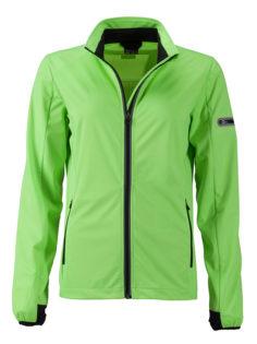 Ladies' Sports Softshell Jacket James & Nicholson - brightgreen black
