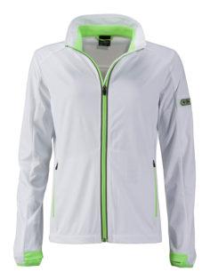 Ladies' Sports Softshell Jacket James & Nicholson - white brightgreen
