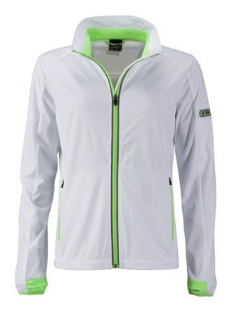 Ladies' Sports Softshell Jacket James & Nicholson - white brightgreen