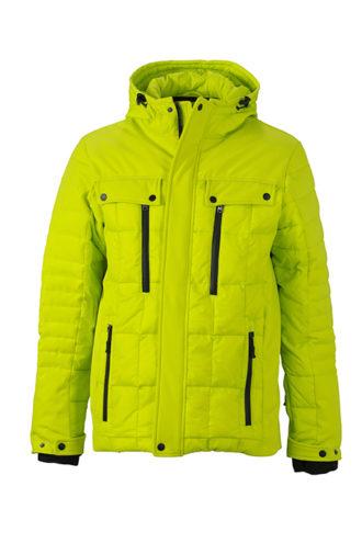 Mens Wintersport Jacket James & Nicholson - acid yellow black