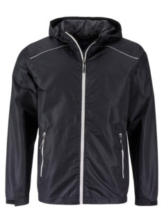 Mens Rain Jacket James & Nicholson - black silver