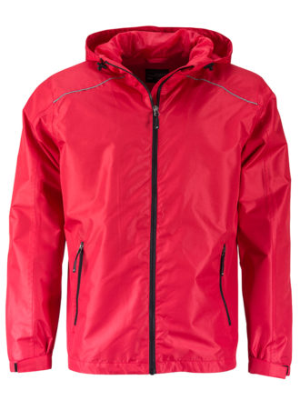 Mens Rain Jacket James & Nicholson - red black