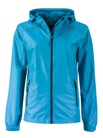Ladies Rain Jacket James & Nicholson - turquoise iron grey