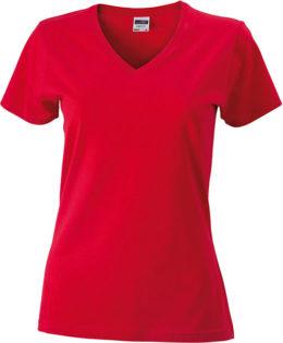 Werbemittel Damen T-Shirt V-Ausschnittn V-Ausschnitt T-Shirt - red
