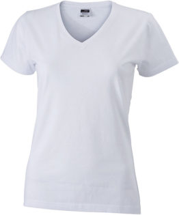 Werbemittel Damen T-Shirt V-Ausschnitt - white