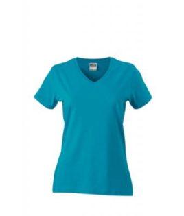 Werbemittel Damen T-Shirt V-Ausschnitt - caribbeanblue