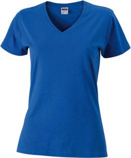 Heavy Super Club Damen V-Ausschnitt T-Shirtn V-Ausschnitt T-Shirt  - cobalt