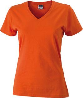Werbemittel Damen T-Shirt V-Ausschnitt - dark orange