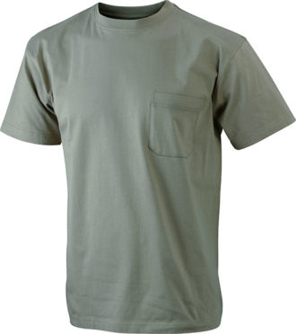 Mens Round-T Pocket T-Shirt - khaki