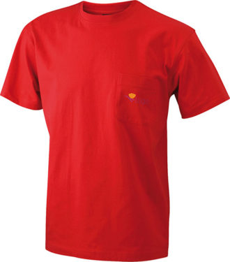 Mens Round-T Pocket T-Shirt - red