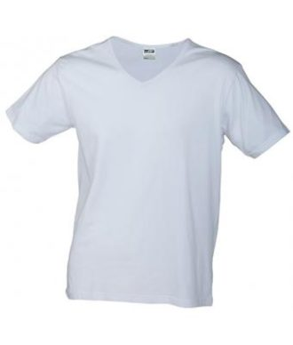 T-Shirt Slim Fit Men mit V-Ausschnitt - white