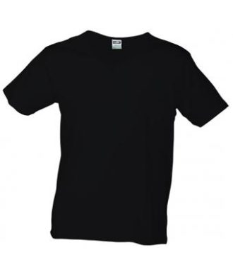 T-Shirt Slim Fit Men mit V-Ausschnitt - black