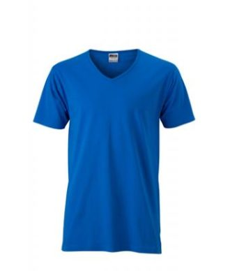 T-Shirt Slim Fit Men mit V-Ausschnitt - cobalt