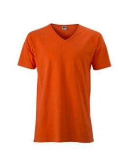 T-Shirt Slim Fit Men mit V-Ausschnitt - dark orange