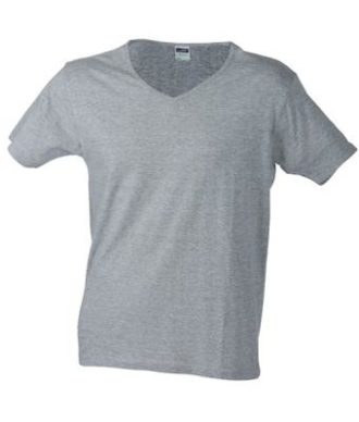 T-Shirt Slim Fit Men mit V-Ausschnitt - grey heather