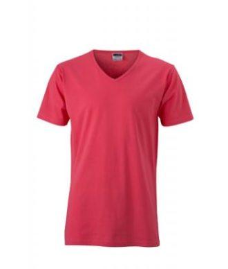 T-Shirt Slim Fit Men mit V-Ausschnitt - light berry