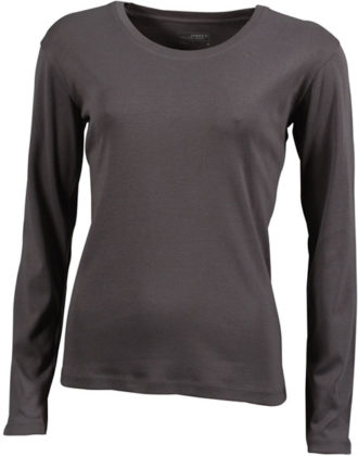 Damen Shirt Long-Sleeved - charcoal