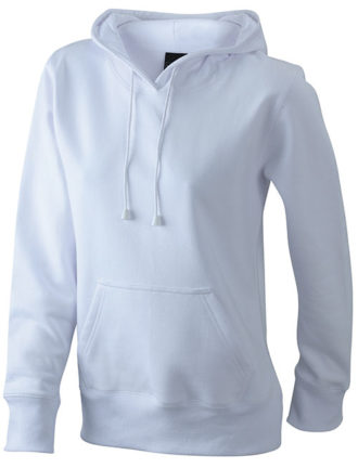 Damen Kapuzen Sweater - white