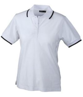 Ladies Tipping Polo - white navy