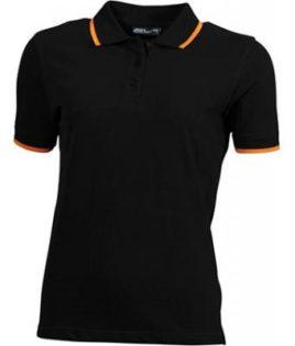 Ladies Tipping Polo - black orange