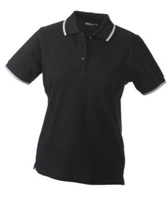 Ladies Tipping Polo - black silver