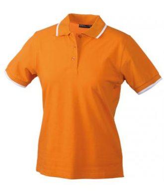 Ladies Tipping Polo - orange white