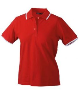 Ladies Tipping Polo - red white