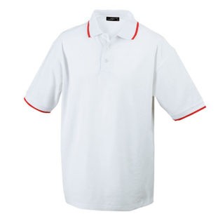 Tipping Polo Werbetextilien - white red