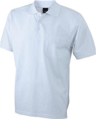Polo Pique mit Brusttasche - white
