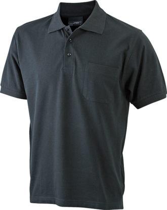 Polo Pique mit Brusttasche - black