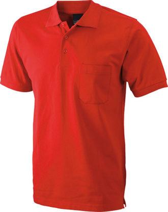 Polo Pique mit Brusttasche - red