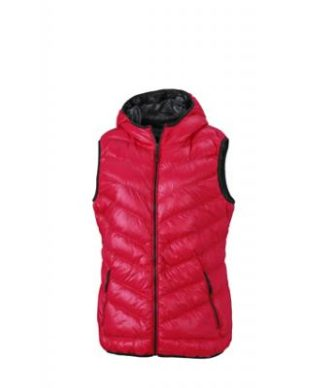 Ladies' Down Vest - magenta/graphite