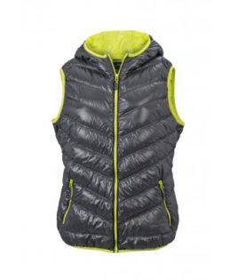 Ladies' Down Vest - carbon/acid yellow