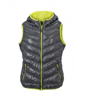 Ladies' Down Vest - carbon/acid yellow