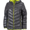 Werbeartikel Daunenjacke James Nicholson - carbon/acid yellow