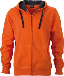 Werbeartikel Kapuzen Sweat Jacke - dark-orange/carbon