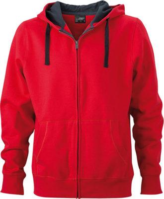 Werbeartikel Kapuzen Sweat Jacke - red/carbon