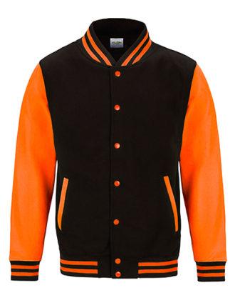 Electric Varsity Jacket Just Hoods - jet black/electric orange
