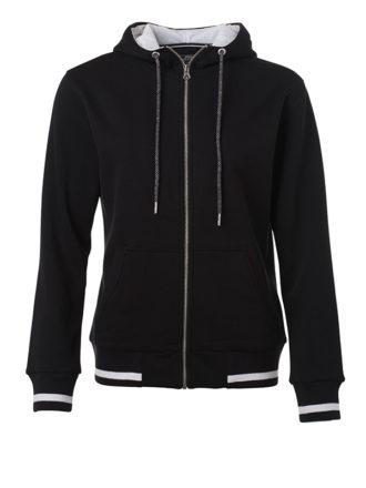 Ladies Club Sweat Jacket James and Nicholson - black white