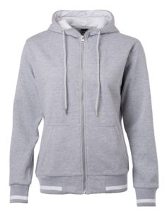 Ladies Club Sweat Jacket James and Nicholson - grey heather white