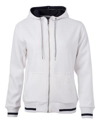 Ladies Club Sweat Jacket James and Nicholson - white royal