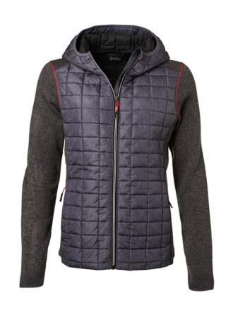 Ladies Knitted Hybrid Jacket James & Nicholson - grey melange anthracite melange